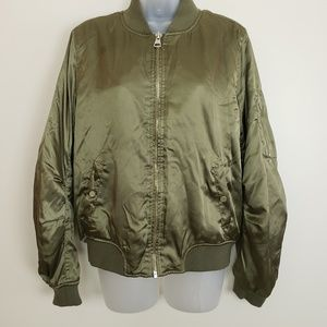 Topshop Olive Green Womens Puffy Jacket
